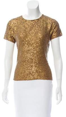 Oscar de la Renta Embellished Short Sleeve Top