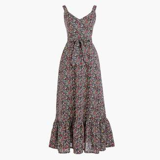 J.Crew Printed tiered maxi dress in linen-cotton