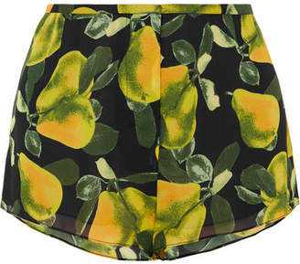 Marc Jacobs Printed Crepe De Chine Shorts - Green