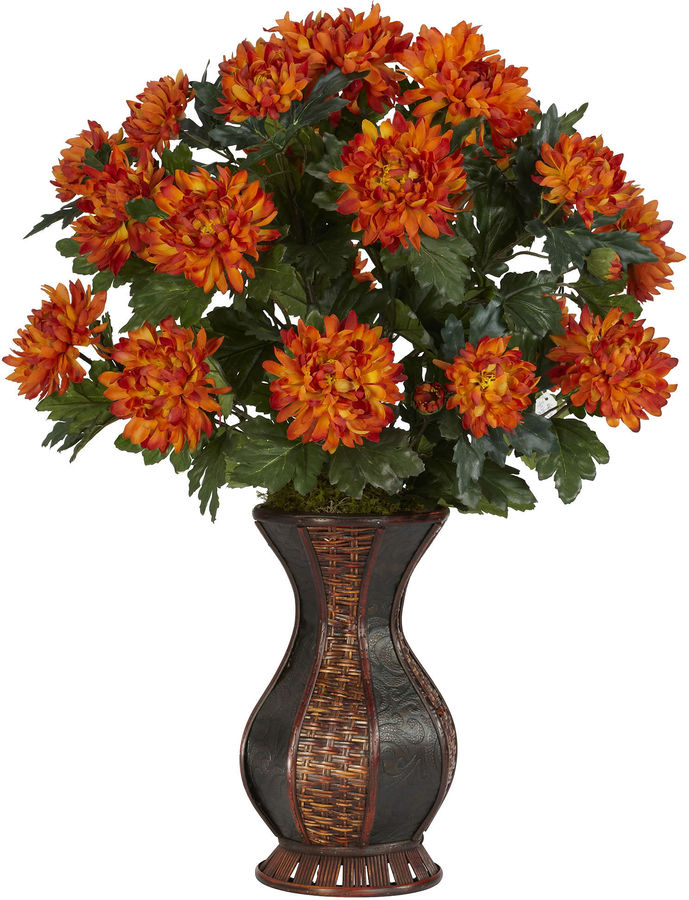 Asstd National Brand Nearly Natural Spider Mum Silk Plant with Urn