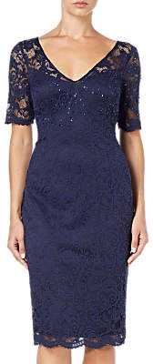 Adrianna Papell Lace Overlay Cocktail Dress, Midnight Blue