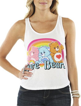 Wet Seal WetSeal Care Bears Lace Back Tank White