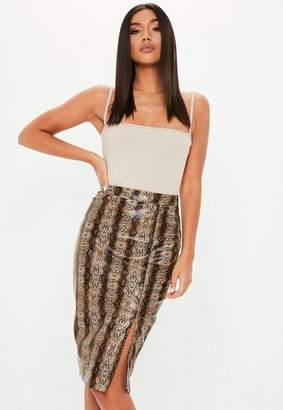 Missguided Brown Faux Leather Snake Front Split Midi Skirt
