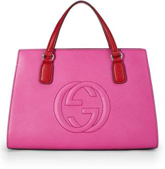 06bb34386d3 Gucci Pink Grained Leather Soho Top Handle Bag