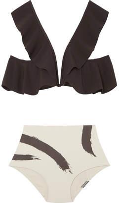 Zimmermann Ruffled Printed Bikini - Black