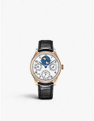 """Rosegold IWC SCHAFFHAUSEN IW503405 Perpetual Calendar """"150 years"""" 18ct rose-gold and leather watch"""