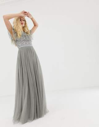 Needle & Thread embroidered bodice tulle gown in ash grey