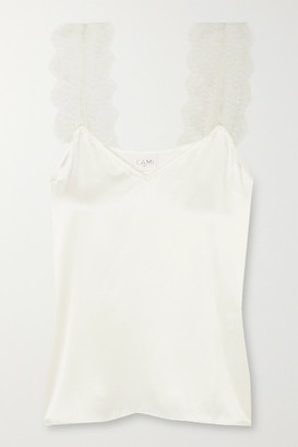 CAMI NYC The Chelsea Lace-trimmed Silk-charmeuse Camisole - White