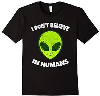 I Don't Believe in Humans Shirt | Green Alien Head Tshirt