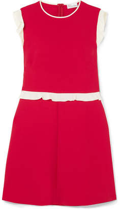 RED Valentino Ruffle-trimmed Crepe Mini Dress - Crimson