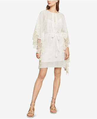 BCBGMAXAZRIA Embroidered Crochet-Contrast Shift Dress
