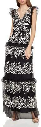 BCBGMAXAZRIA Sleeveless Floral-Vine-Appliqué Gown