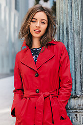 Lands' End Women's Tall Harbor Trench Coat-Crimson Dawn $109 thestylecure.com