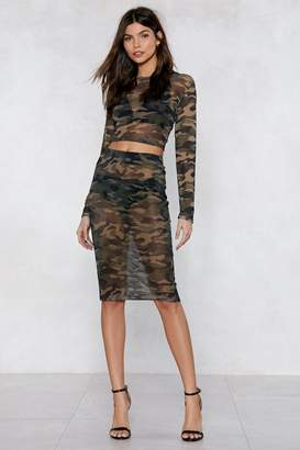 Nasty Gal You Mesh Believe It Camo Top and Skirt Set