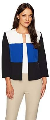 Kasper Women's Petite Size Jewel Neck Stretch Crepe Tri Tone Flyaway Jacket