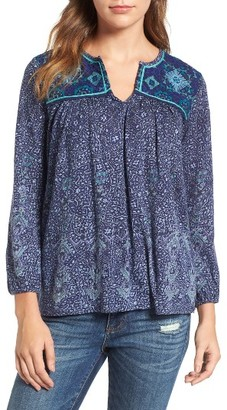 Women's Lucky Brand Embroidered Yoke Print Top $59.50 thestylecure.com
