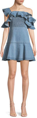 Tanya Taylor Lara Off-the-Shoulder Ruffle Denim Dress