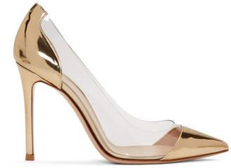 Gianvito Rossi Gold Metallic Patent Plexi Heels