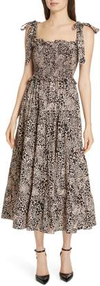 Rebecca Taylor Leopard Print Smocked Dress
