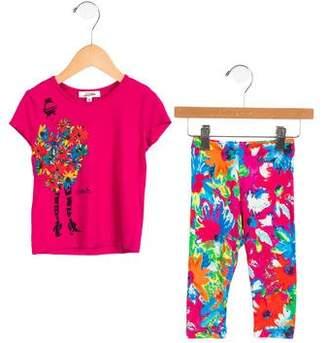 Junior Gaultier Girls' Floral Knit Pant Set