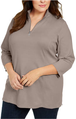 Karen Scott Plus Size Cotton Mock Neck Tunic