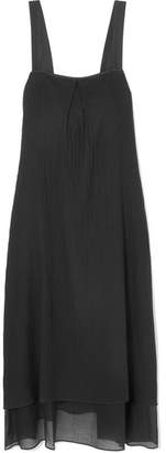 Theory Silk-trimmed Crinkled Cotton-voile Midi Dress