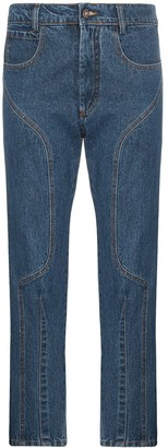 Delada Moto high-waisted straight leg cropped jeans