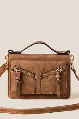 francesca's Viola Double Zip Crossbody Wallet - Cognac