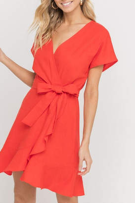 Lush Clothing Red Linen Wrap-Dress