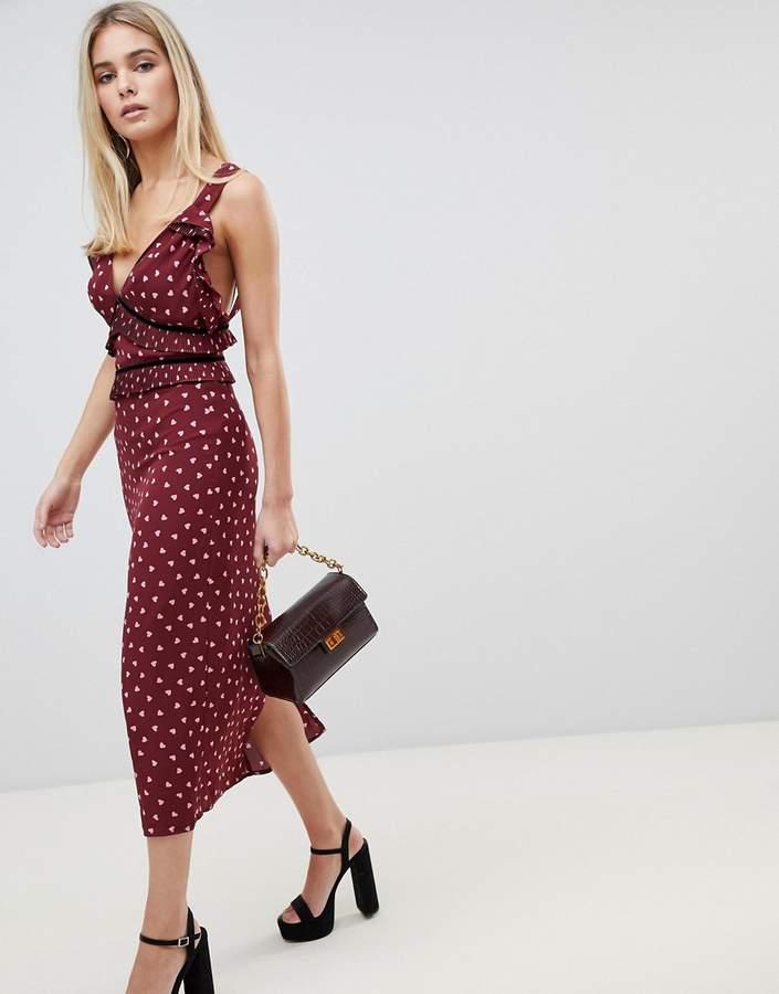 maxi dress in heart print
