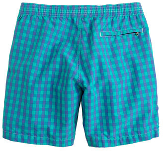 """J.Crew 7"""" Board Shorts In Royal Mint Gingham"""