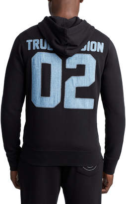 True Religion MENS DENIM APPLIQUE ZIP UP HOODIE