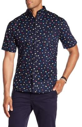 LOFT 604 Short Sleeve Polka Dot Print Regular Fit Woven Shirt