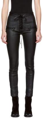 Unravel Black Lace-Up Leather Pants