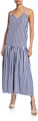 Mara Hoffman Raffaella Striped V-Neck Drop Waist Organic Cotton Maxi Dress
