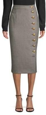 Escada Stretch-Wool Button Pencil Skirt