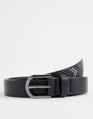 Asos Design DESIGN faux leather slim belt in black with silver studding