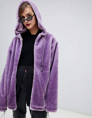 story. Of Lola Oversized Zip Front Hooded Jacket In Faux Fur