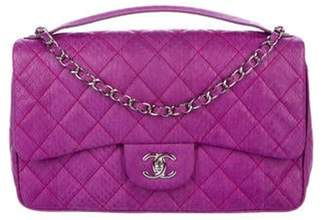 Chanel Python Quilted Medium Easy Carry Flap Bag Violet Python Quilted Medium Easy Carry Flap Bag
