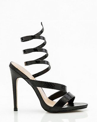 Le Château Snake Embossed Ankle Wrap Sandal
