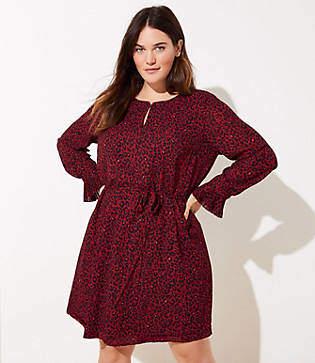 LOFT Plus Leopard Print Tie Waist Dress