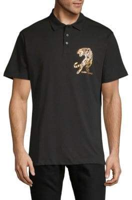 Versace Tiger Graphic Cotton Jersey Polo
