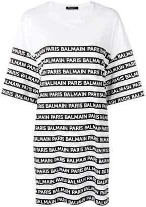Balmain logo stripe oversized T-shirt