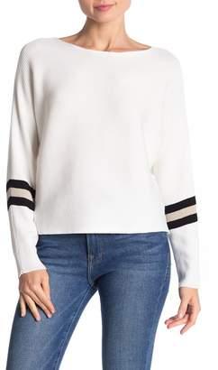 Cotton Emporium Dolman Sleeve Varsity Stripe Sweater
