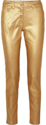 Moschino Metallic Coated Mid-rise Skinny Jeans - Gold