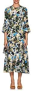 Erdem Women's Florence Floral Silk Midi-Dress-White, Blue