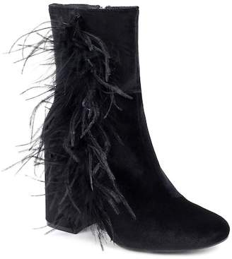 OLIVIA MILLER Bushwick Marabou Fur Chunky Heel Ankle Bootie