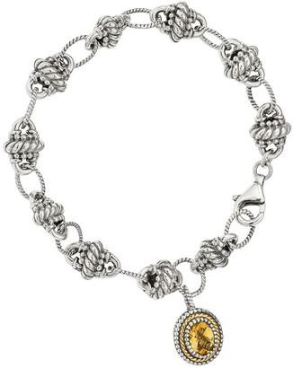 Sterling & 14K Citrine Dangle Bracelet