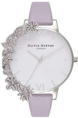 Olivia Burton Case Cuffs OB16CB05 Silvertone Leather Watch