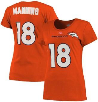 Majestic Women's Denver Broncos Peyton Manning Orange Fair Catch V Name & Number T-Shirt
